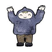 Cartoon boy in hoody — Stock Vector