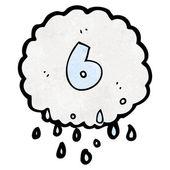 Cartoon raincloud number six — Stock Vector