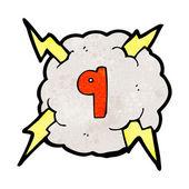 Cartoon lightning bolt storm cloud number 9 — Stockvektor