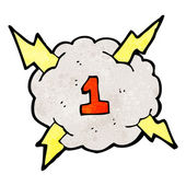 Cartoon lightning bolt storm cloud number 1 — Stock Vector