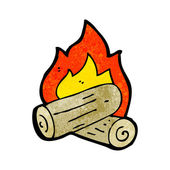 Burning logs cartoon — Stock Vector
