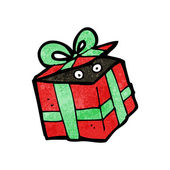 Monster hiding in christmas present cartoon — Vector de stock
