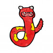 Vector de stock : Shocked cartoon poisonous snake