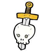 Sword Through A Skull — Stock Vector