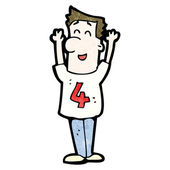 Cartoon man in shirt number 4 — Stock Vector