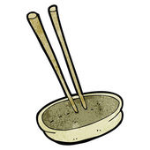 Noodle bowl and chopsticks cartoon (raster version) — Stock Vector
