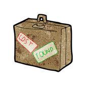 Dibujos animados de equipaje perdido y encontrado — Vector de stock