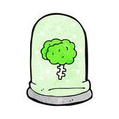 Spooky cartoon brain floating in jar — Stock Vector