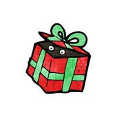 Cartoon surprise in present — Stockvector