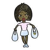 Cartoon woman carrying shopping bags — Stock Vector