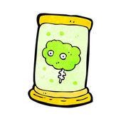 Cartoon gross floating brain in jar — Stock Vector