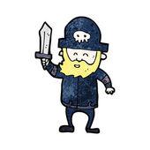Pirat kreskówka z broda — Wektor stockowy