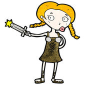 Cartoon viking girl — Stock Vector