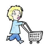 Kobieta kreskówka z wózka na zakupy — Wektor stockowy