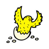 Chick hatching from egg cartoon — Stock Vector