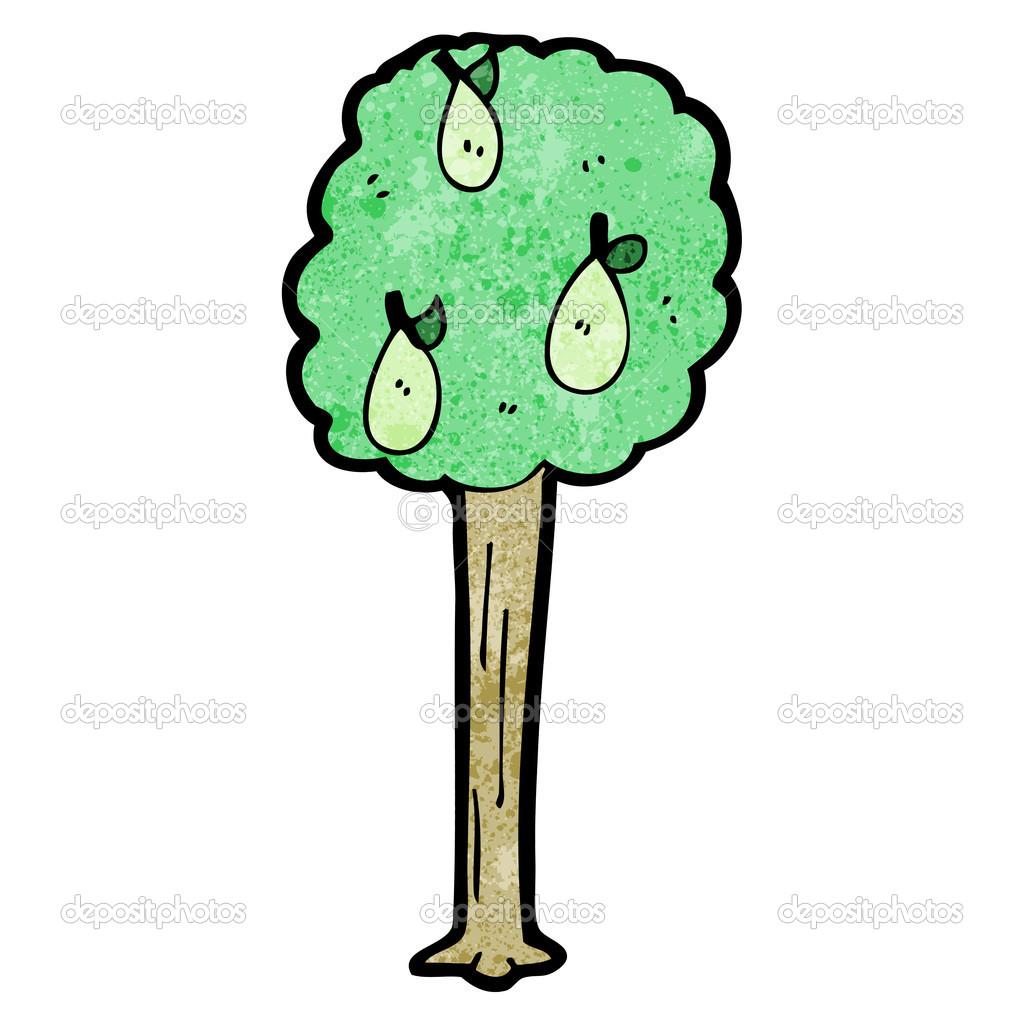Pear Tree Cartoon Cartoon Pear Tree Vector by