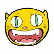 Stock Vector: Funny cartoon cat face