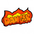 Cartoon danger sign — Stock Vector