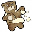 Torn teddy bear toy cartoon — Vector de stock #21546923