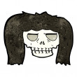 Cartoon skull with woman's hair — Stock Vector