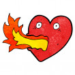 Fire breathing heart cartoon — Stock Vector #21549835
