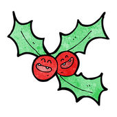 Laughing christmas holly cartoon — Stock Vector