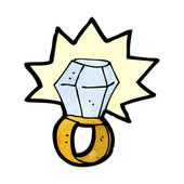 Cartoon anillo de diamante — Vector de stock