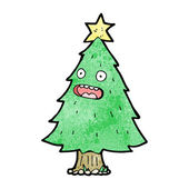 Christmas tree cartoon character — Stock Vector