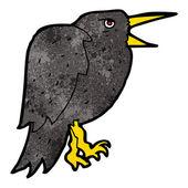 Cartoon pecking crow — Stock Vector
