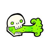 Cartoon breathing skull tattoo — Stock Vector