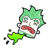 Pelo verde halloween vampiro cabeza decapitada — Vector de stock
