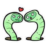 Cartoon worm love — Stock Vector