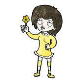 Hrdý zahradnické žena kreslený — Stock vektor