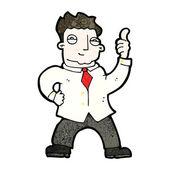 Uomo d'affari fumetto dando il pollice in alto segno — Vettoriale Stock