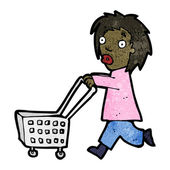 Cartoon woman with shopping trolley — Stock Vector