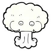 Cartoon cloud blowing wind — Stock Vector