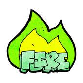 Signo de fuego ardiente de la historieta — Vector de stock