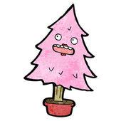 Pink christmas tree cartoon — Stock Vector