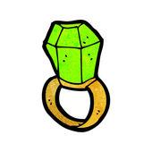 Cartoon smaragd ring — Stockvektor