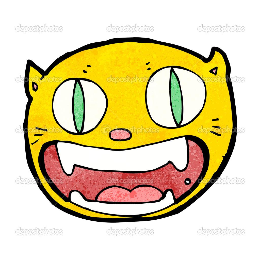 可爱的卡通猫脸 — 矢量图片作者