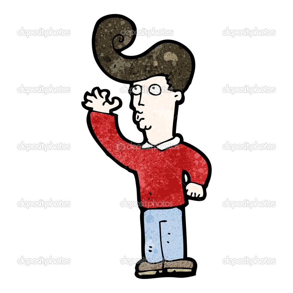 Ragazzo cartone animato con grandi capelli e occhiali da