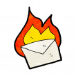 Cartoon burning letter — Stock Vector