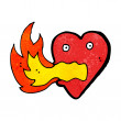 Cartoon fire breathing heart — Stock Vector #21550183