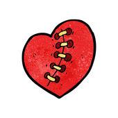 Cartoon stitched heart tattoo — Stock Vector