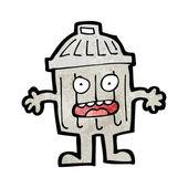 Cartoon rubbish bin character — Stock Vector