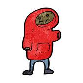Cartoon waving boy in hooded sweatshirt — Stock Vector