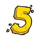 Desenho animado número cinco — Vettoriale Stock