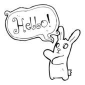 Cartoon zombie bunny saying hello — Stock Vector