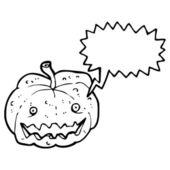 Retro cartoon spooky pumpkin with speech bubble — Stock Vector
