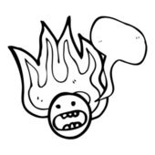 Cartoon flaming emoticon face — Stock Vector